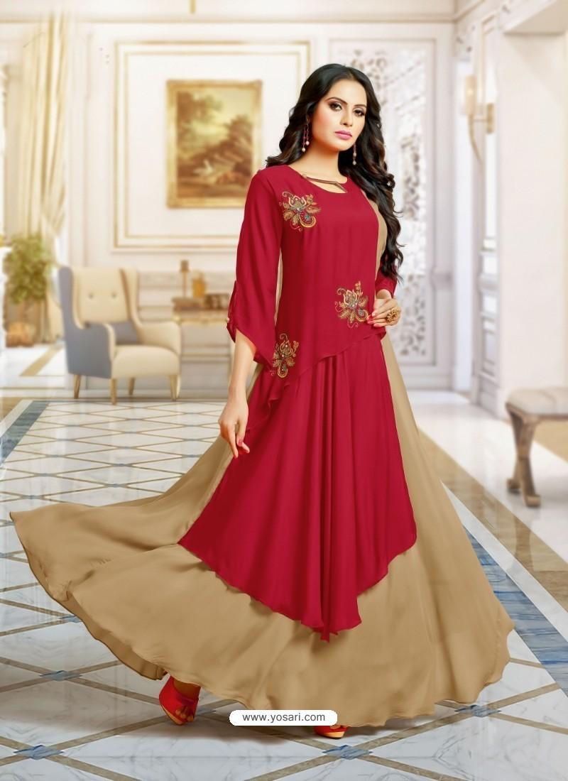 Elegant Wine Muslin Gown