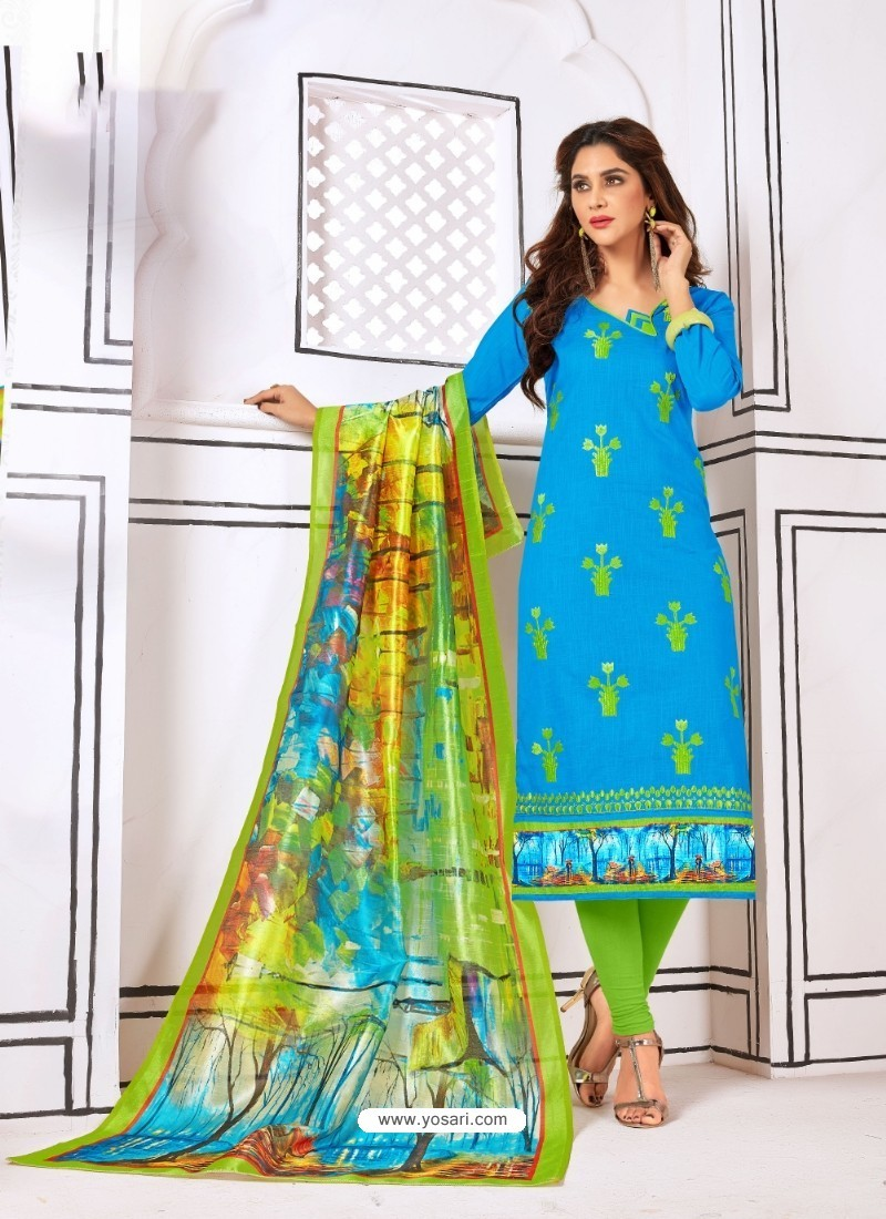 Mind Blowing Blue Cotton Embroidered Suit