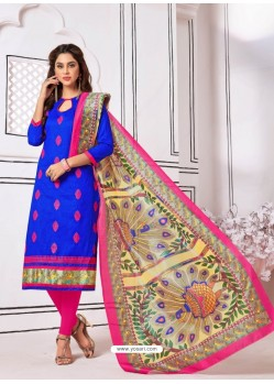 Attractive Royal Blue Cotton Embroidered Suit