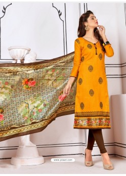 Pretty Mustard Cotton Embroidered Suit