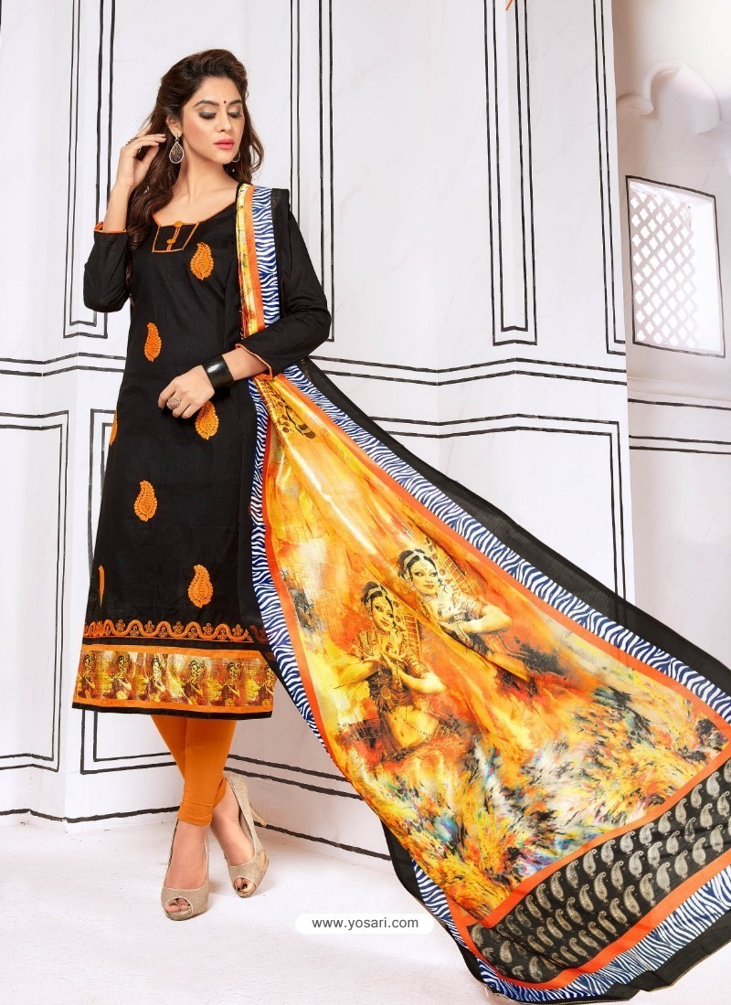 Nice Looking Black Cotton Embroidered Suit