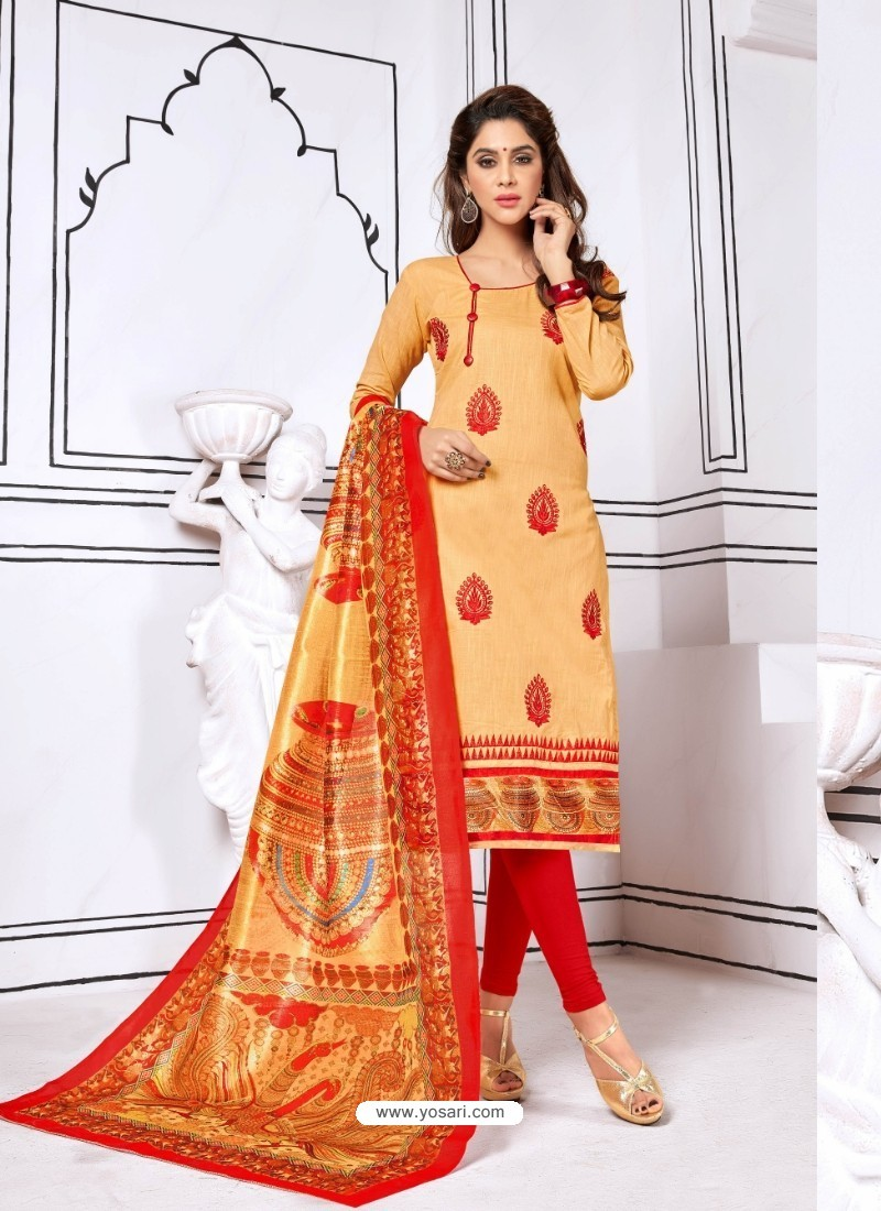 Pleasing Beige Cotton Embroidered Suit