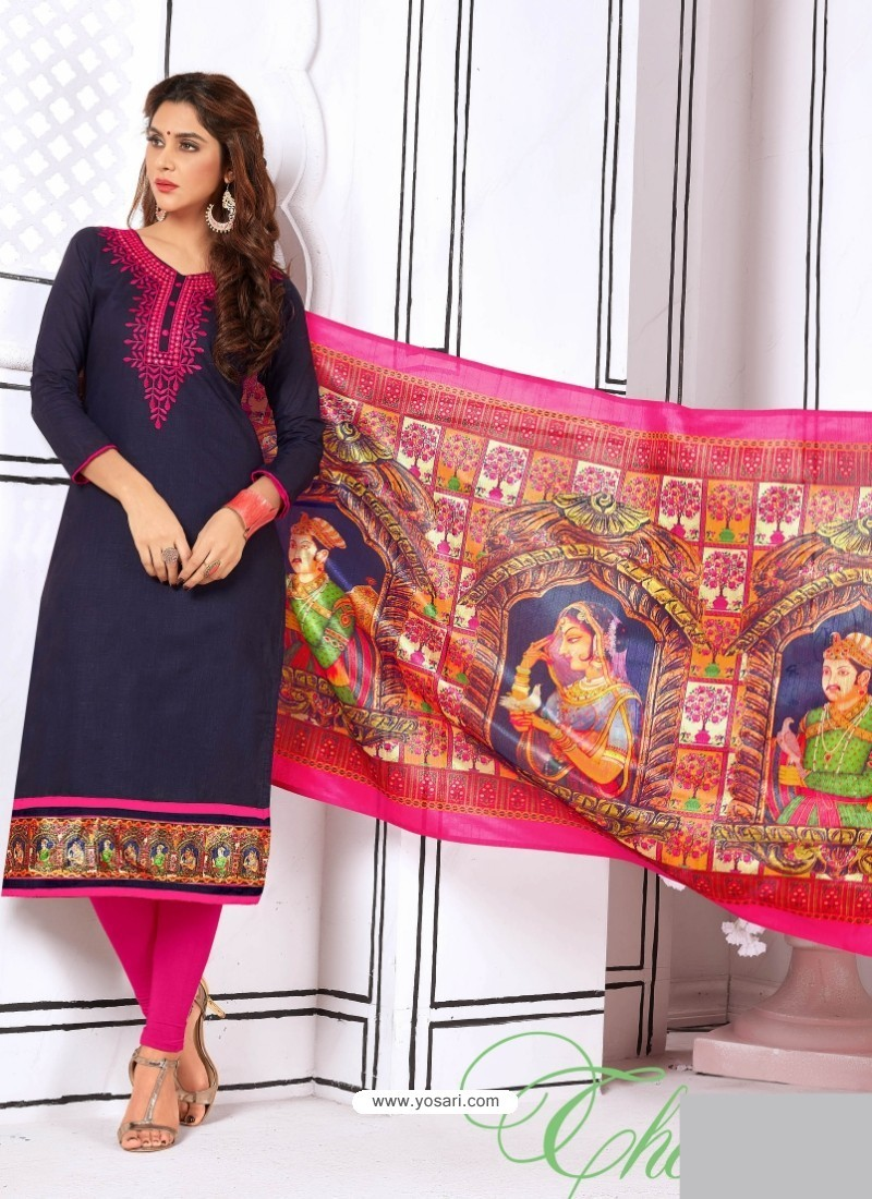 Heavenly Navy Blue Cotton Embroidered Suit