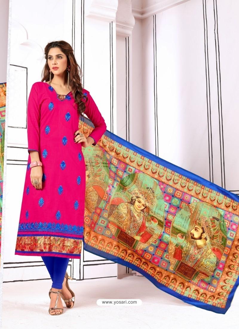 Glamorous Fuchsia Cotton Embroidered Suit