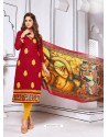 Graceful Wine Cotton Embroidered Suit
