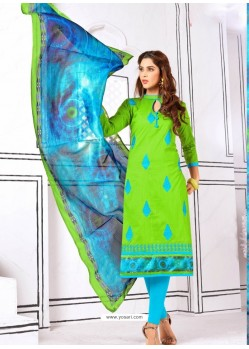 Enhanting Parrot Green Cotton Embroidered Suit
