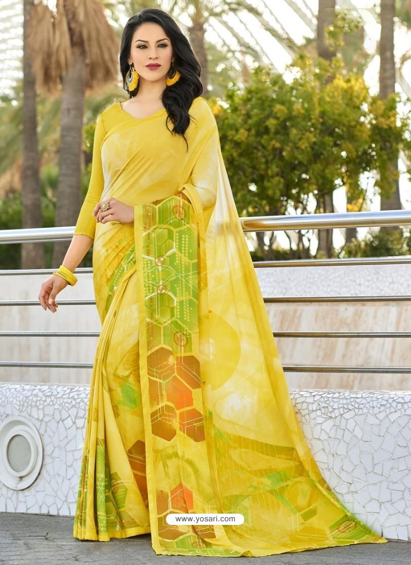 Yellow Crepe Printed Saree