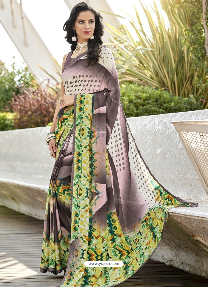 Multi Colour Crepe Printed Saree