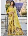 Yellow Crepe Print Work Saree
