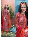 Orange Cotton Churidar Salwar Suits