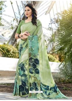 Sea Green Crepe Printed Saree