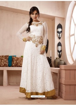 White Georgette Embroidered Floor Length Suit