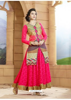 Fuchsia Georgette Embroidered Floor Length Suit