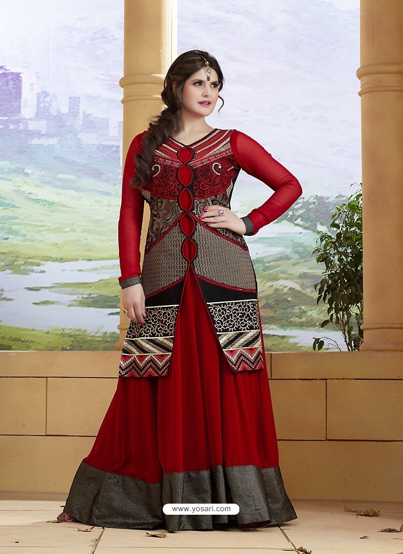 Zareen Khan Crimson Georgette Embroidered Floor Length Suit