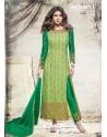 Priyanka Chopra Green Net Embroidered Suit