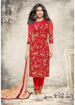 Priyanka Chopra Red Net Embroidered Suit