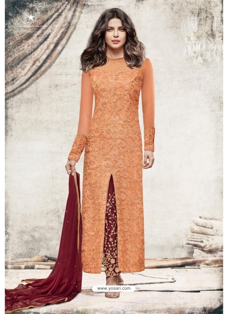 Priyanka Chopra Orange Net Embroidered Suit