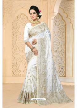 Observable White Zoya Art Silk Saree
