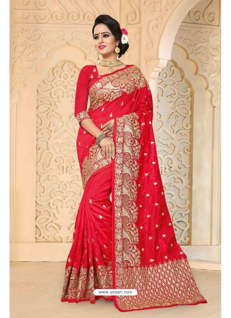 Excellent Red Zoya Art Silk Saree