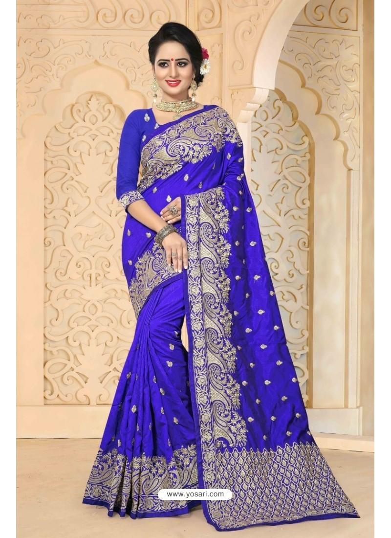 Phenomenal Royal Blue Zoya Art Silk Saree