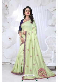 Awesome Sea Green Embroidered Saree