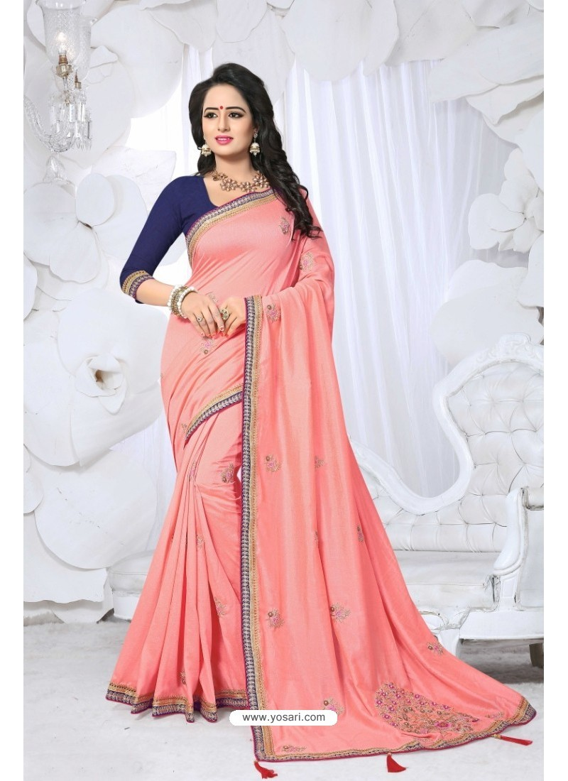 Asthetic Peach Embroidered Saree