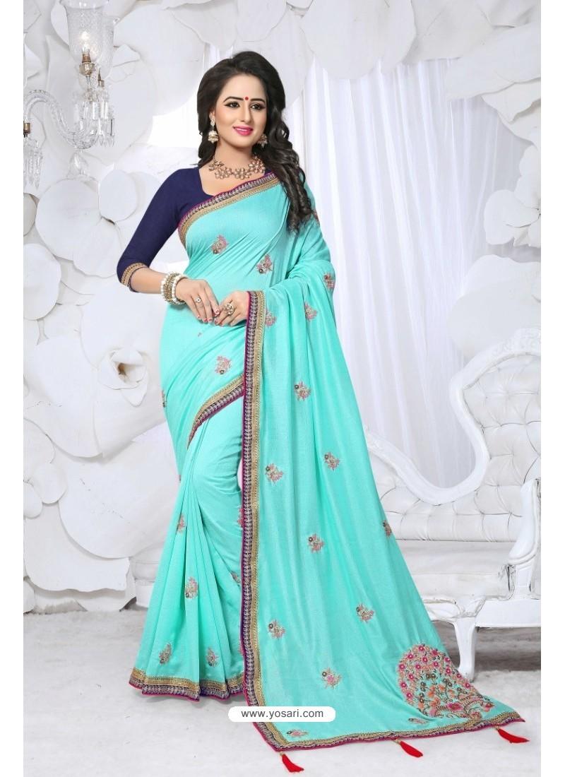 Fashionable Sky Blue Embroidered Saree