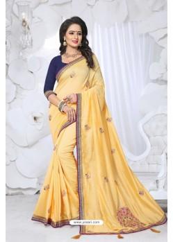 Astounding Yellow Embroidered Saree