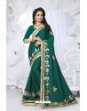 Stunning Dark Green Embroidered Saree