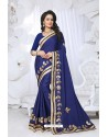 Remarkable Blue Embroidered Saree