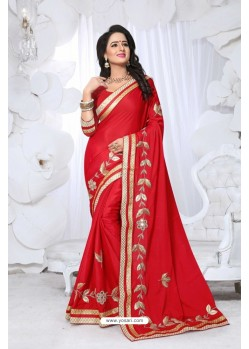 Admirable Red Embroidered Saree