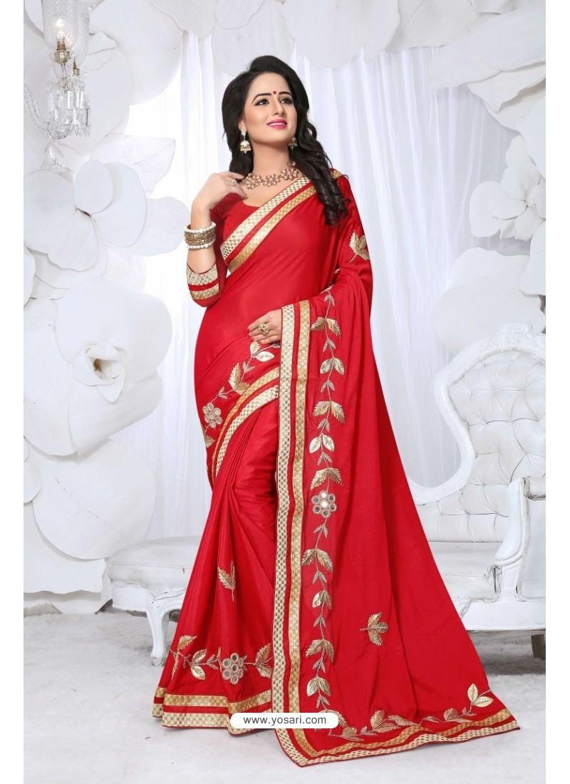 a924867f96 Buy Admirable Red Embroidered Saree | Designer Sarees