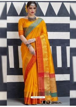Wonderful Yellow Silk Saree