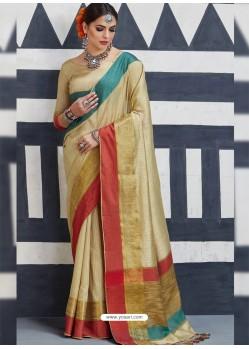 Attractive Beige Silk Saree