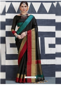 Nice Looking Black Silk Saree
