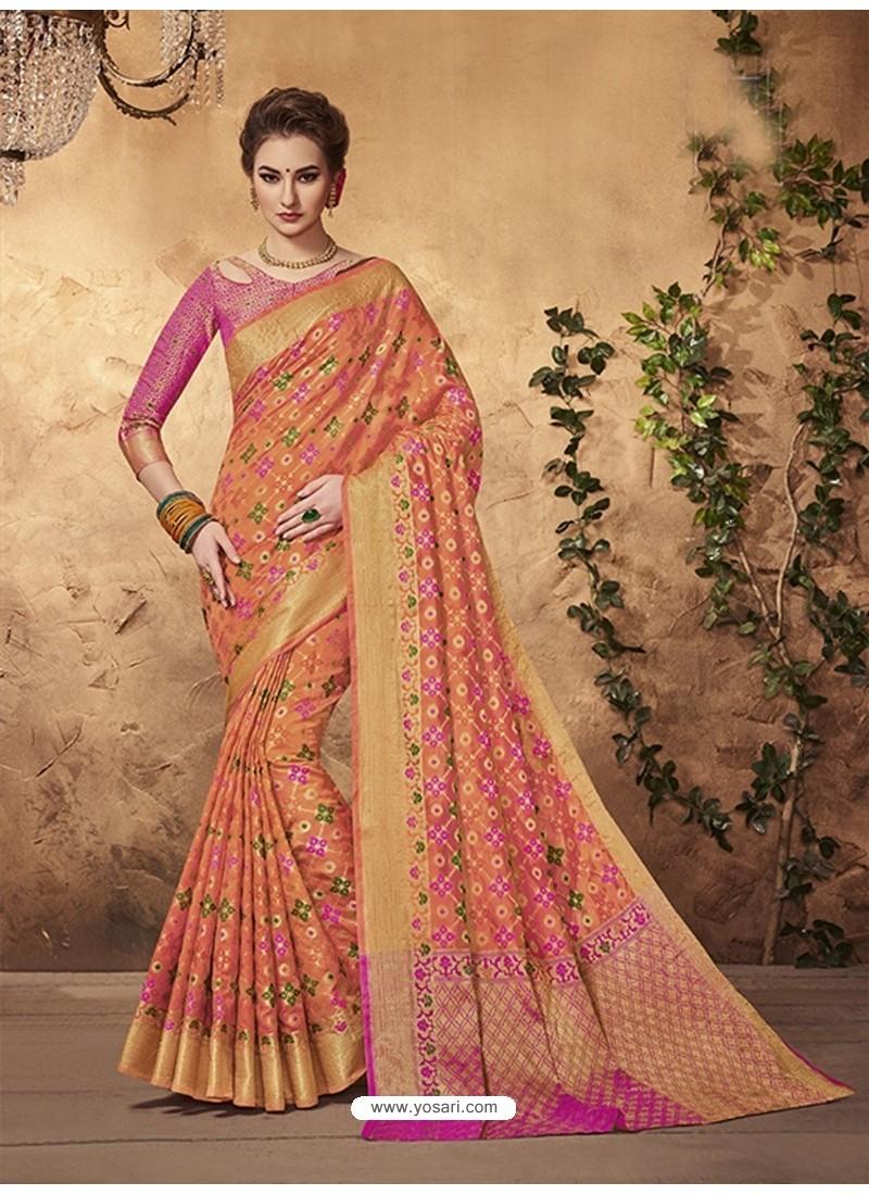Traditional Orange Silk Saree