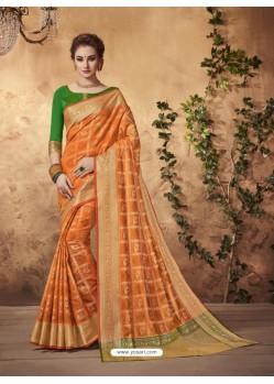 Heavenly Orange Silk Saree