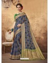Elegant Dark Blue Silk Saree