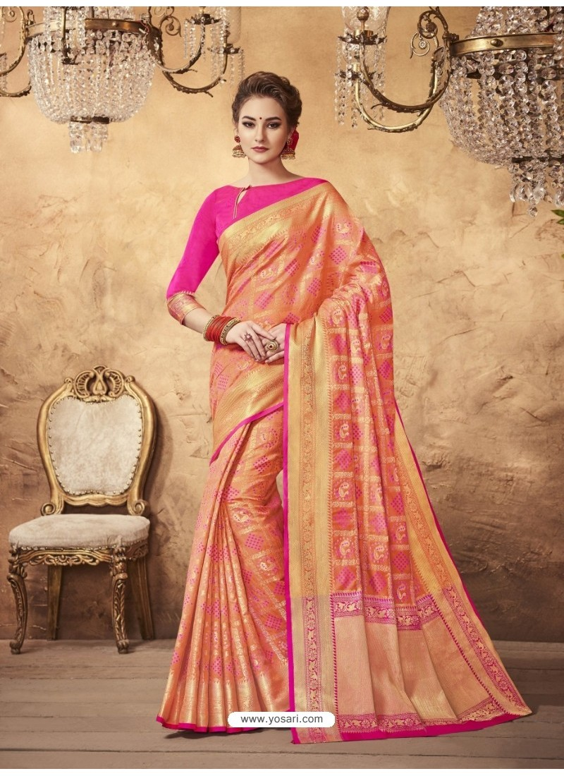 Enhanting Peach Silk Saree