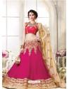Pink Georgette Embroidered Lehenga Choli