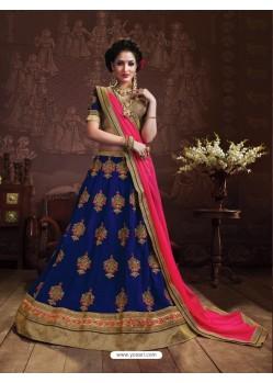 Dark Blue Embroidered Lehenga Choli