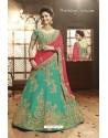 Jade Green Silk Embroidered Lehenga Choli