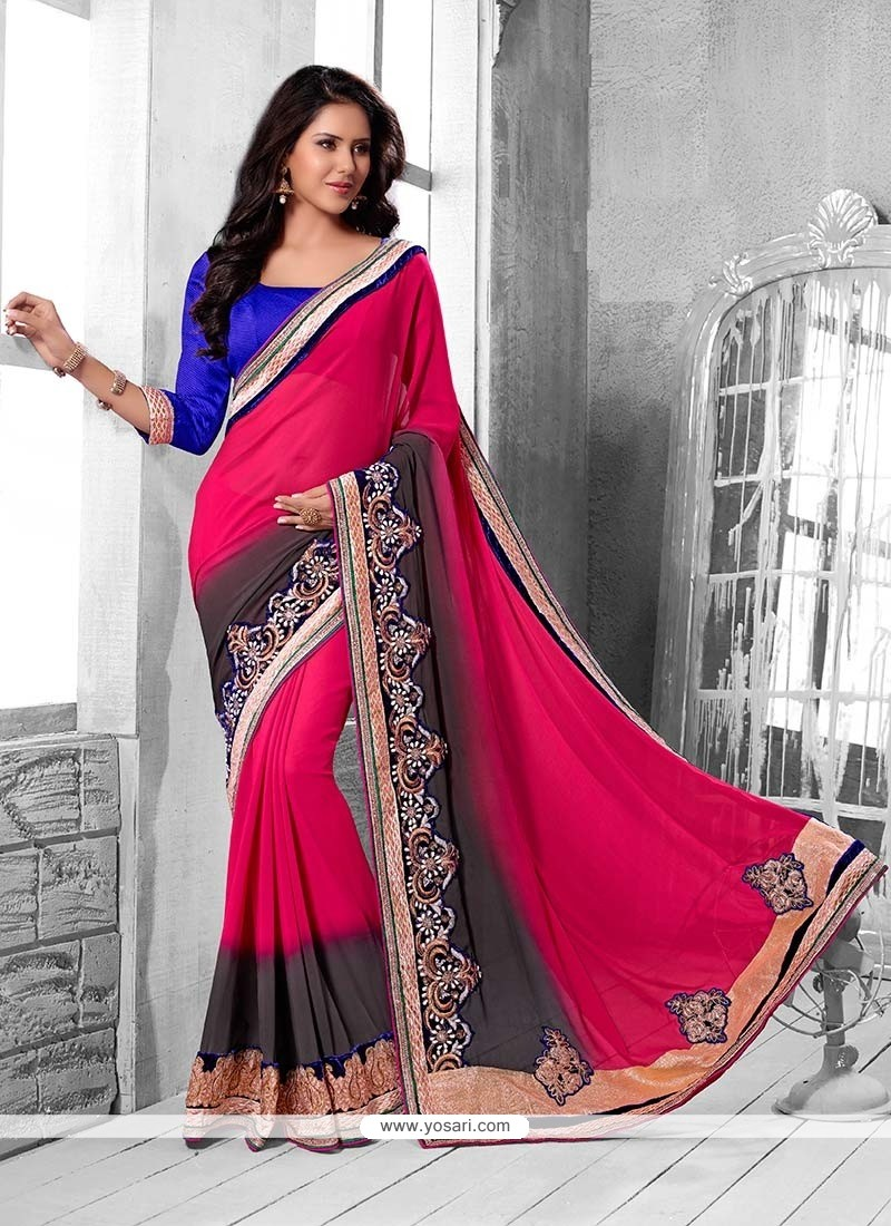 Preety Pink And Grey Shaded Faux Georgette Saree