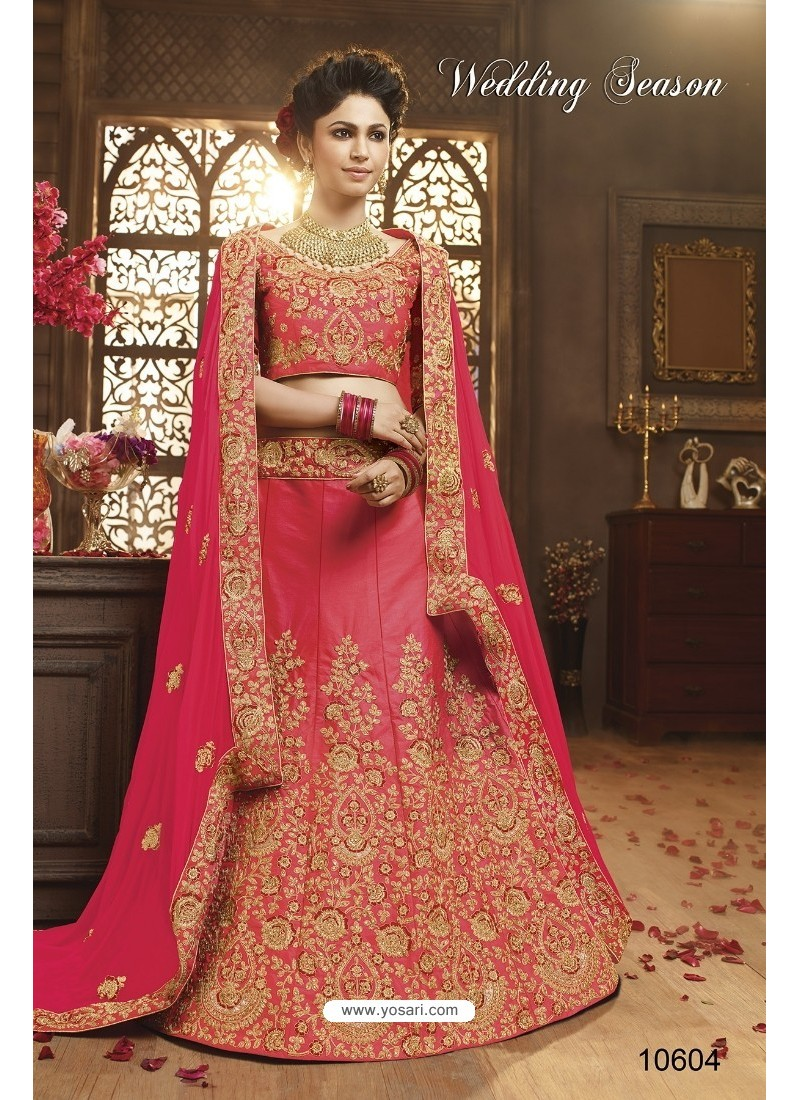 Light Pink Silk Embroidered Lehenga Choli