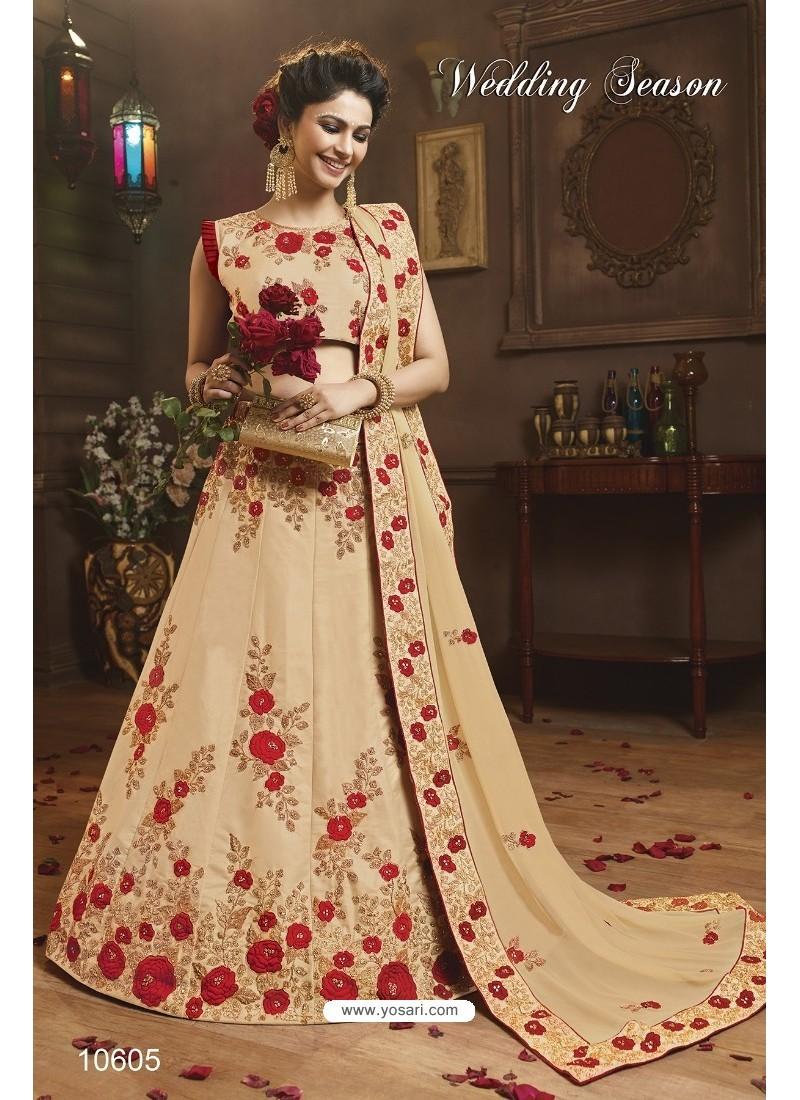 Beige Silk Embroidered Lehenga Choli
