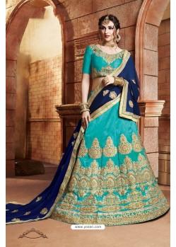 Turquoise Banglori Silk Lehenga Choli
