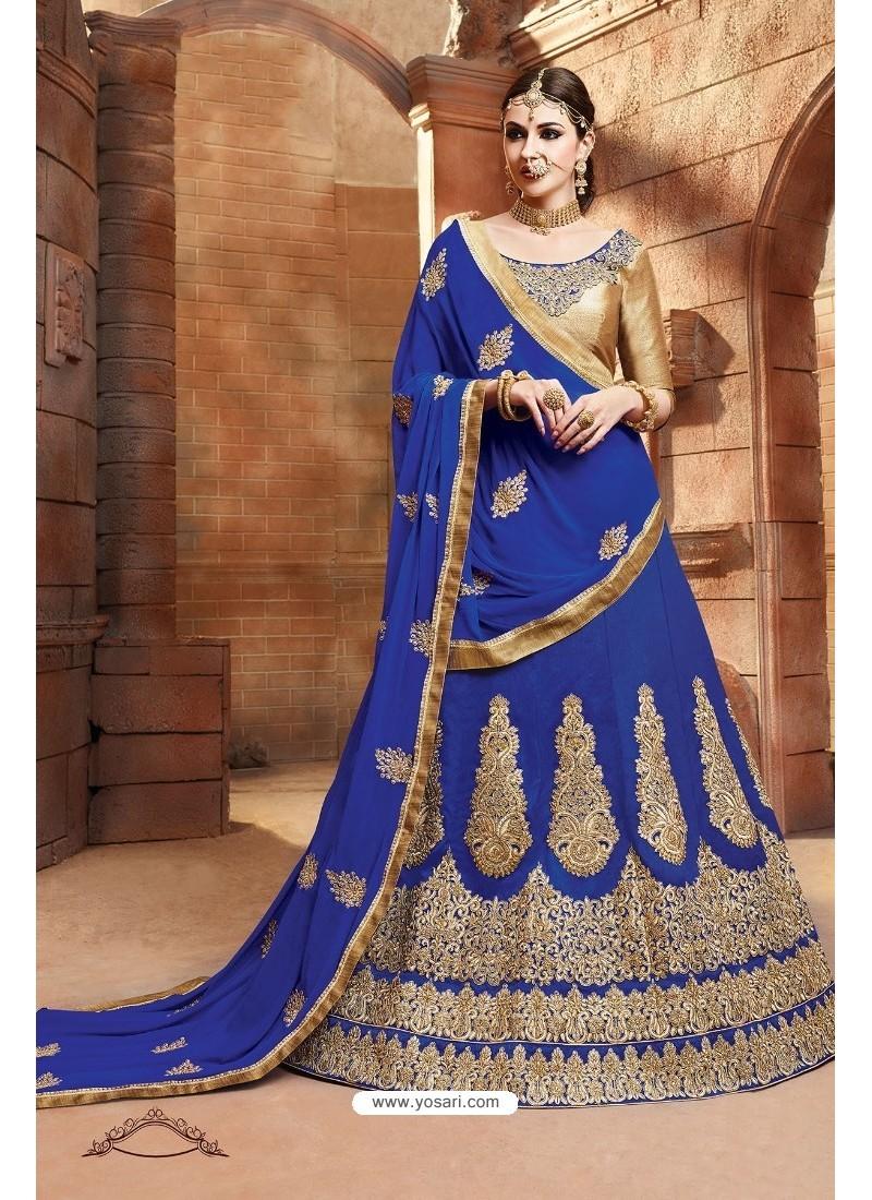 Royal Blue Banglori Silk Lehenga Choli