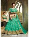 Jade Green Net Embroidered Lehenga Choli