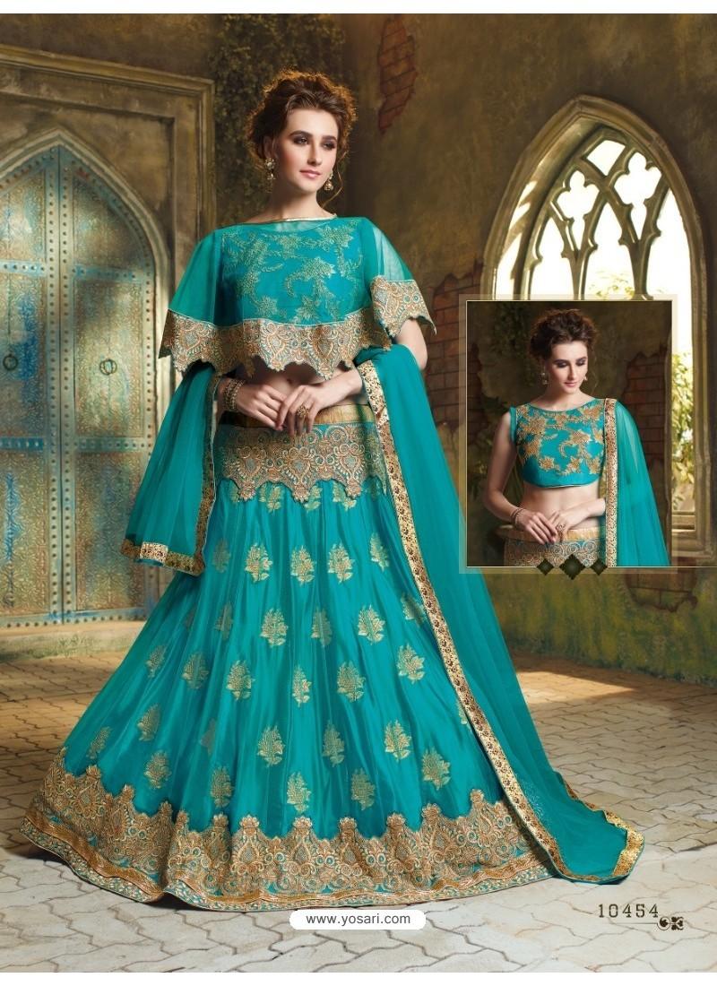 Turquoise Net Embroidered Lehenga Choli