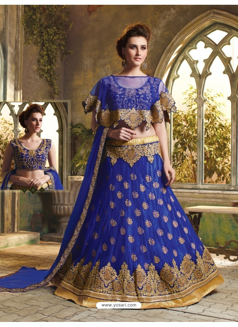 7b3d7fe4d6 Buy Royal Blue Net Embroidered Lehenga Choli | Wedding Lehenga Choli
